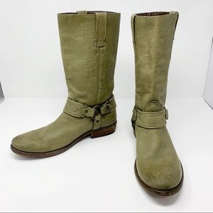 Frye | Harness Moto Boots Green Leather | 9